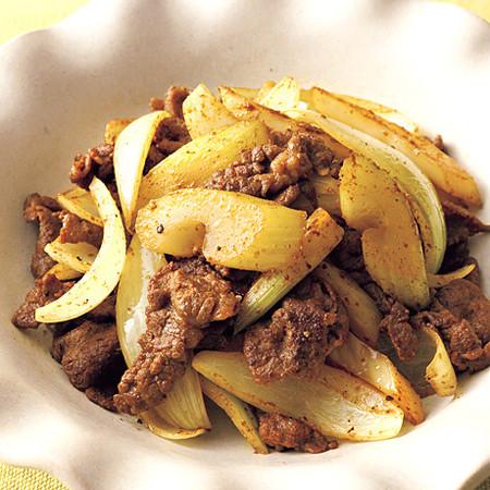 牛肉とセロリのカレー炒め