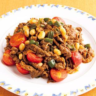 牛肉と大豆のスパイシー炒め
