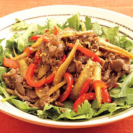 韓国風牛肉炒めと春菊のサラダ仕立て