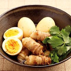 豚バラ巻きとゆで卵の角煮風