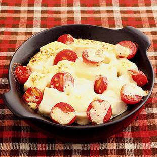 豆腐とミニトマトのマヨ焼き