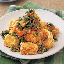 豆腐のにらキムチだれから揚げ
