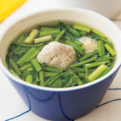 春の苦み野菜ととりだんごのスープ