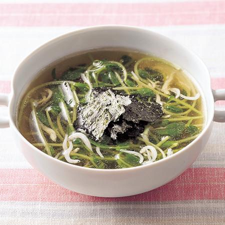 豆苗としらすのスープ
