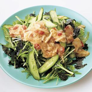 長いもドレッシングの水菜サラダ