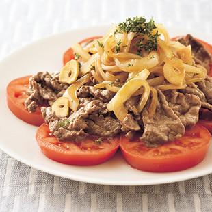 牛肉とトマトのガーリックサラダ