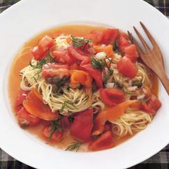 サーモンとトマトの冷製パスタ
