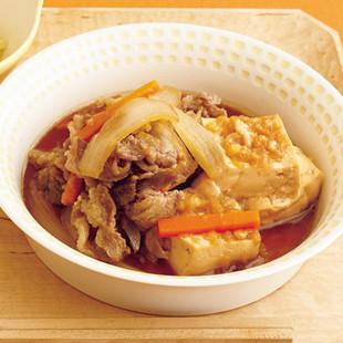 揚げ玉肉豆腐