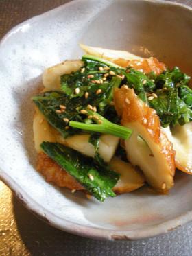 アシタバと焼きちくわのごま味噌炒め