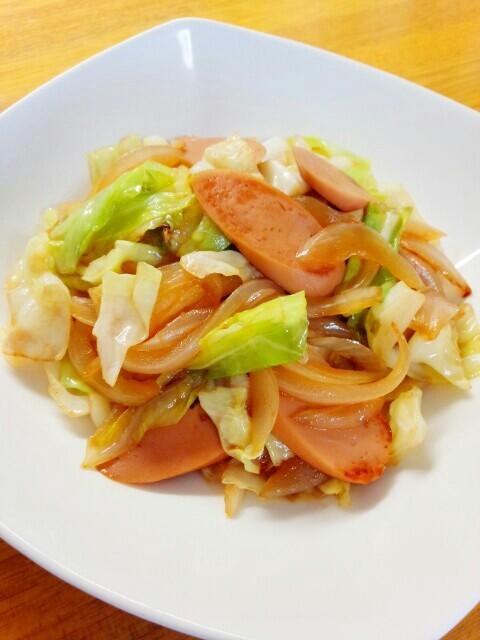 キャベツ万歳♪野菜と魚肉ソーセージ炒め