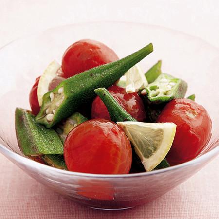 トマトとオクラのポン酢あえ