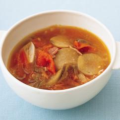 ベーコンとなすのトマトスープ