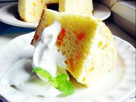 ●究極の《絹の食感》★オレンジの蒸し焼きシフォンケーキ♪