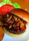 甘めBBQソースのテキサスハンバーガー