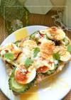 ゴーヤ×茹で卵のトースト 和風ソース味。