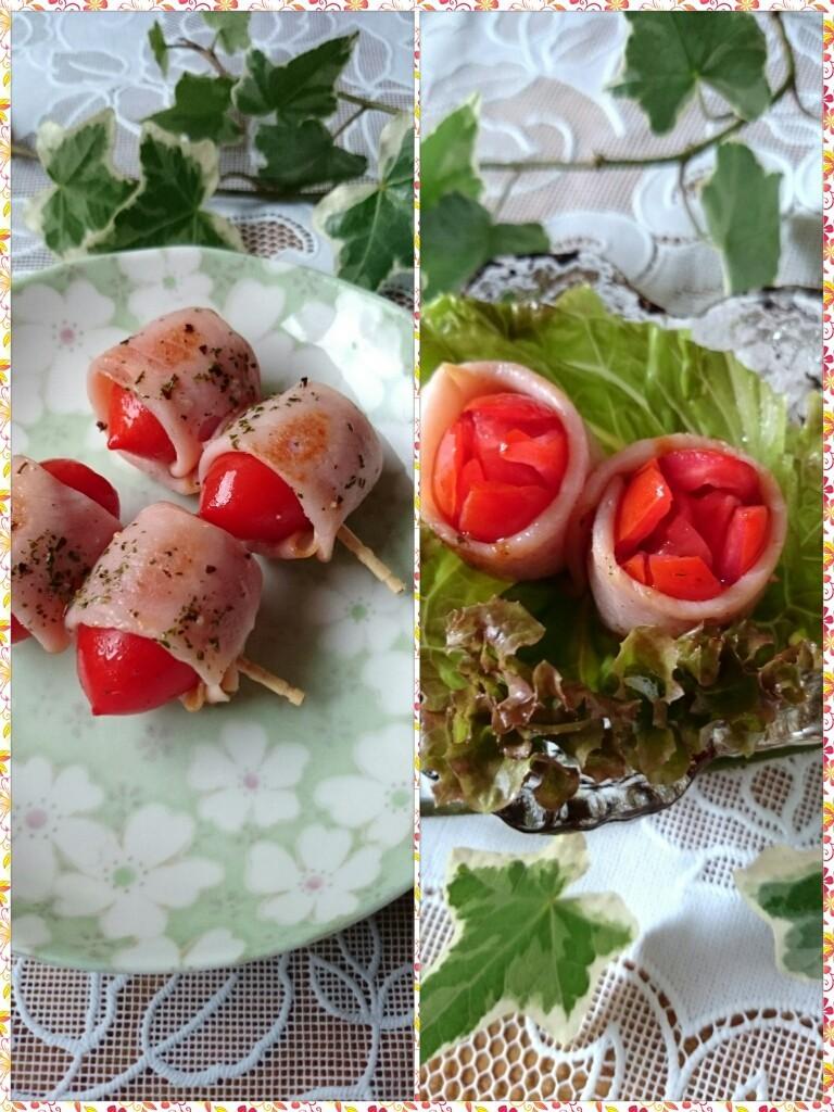 お弁当に☆トマトのハムorベーコン巻き★