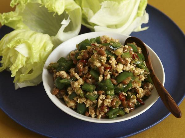 鶏ひき肉と納豆の香味炒め
