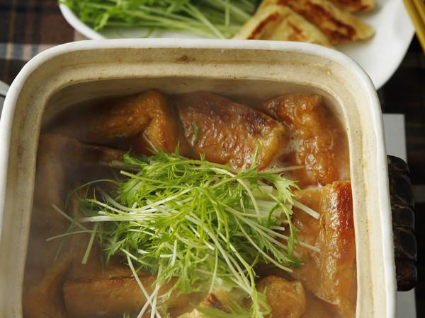 水菜と油揚げのシンプル鍋