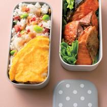 鮭の焼き漬け+ハム卵ご飯弁当