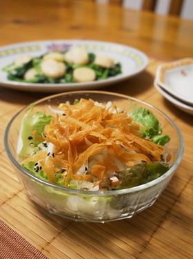 パリパリ☆春巻きの皮で中華サラダ