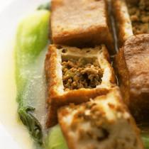豚の挽き肉詰め箱豆腐