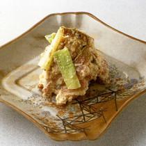 鴨ロース肉とねぎの味噌漬け豆腐衣和え