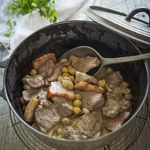 ベーコンと豚肉とひよこ豆のクリーム煮