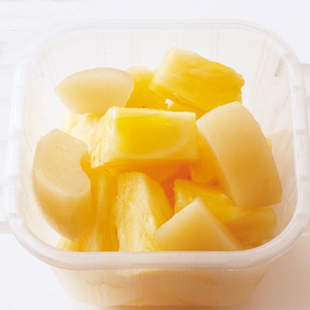桃缶のジンジャーシロップマリネ