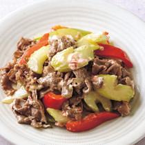 牛肉とセロリの梅マヨ炒め