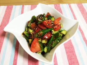 トマト&きゅうり&オクラの梅肉サラダ