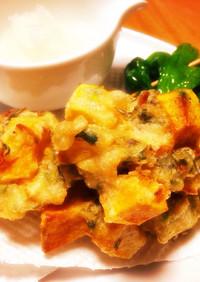 シソの実とカボチャの天ぷら