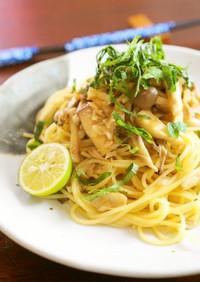 麺つゆで♬きのことツナの和風パスタ