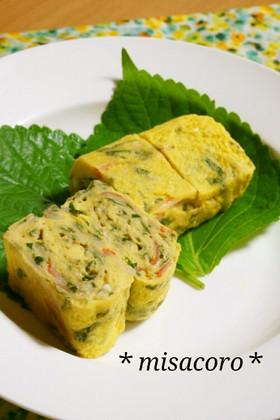mエゴマ(大葉)とカニかまカラフル卵焼き