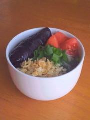 茄子の揚げびたし素麺の写真