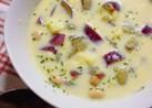 秋を感じる♬さつまいもと豆のスープ★