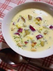 秋を感じる♬さつまいもと豆のスープ★の写真