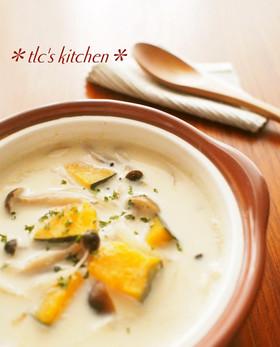 ●かぼちゃとしめじの豆乳味噌スープ●