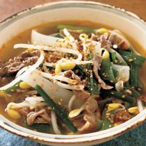 牛肉と豆もやしの辛みスープ