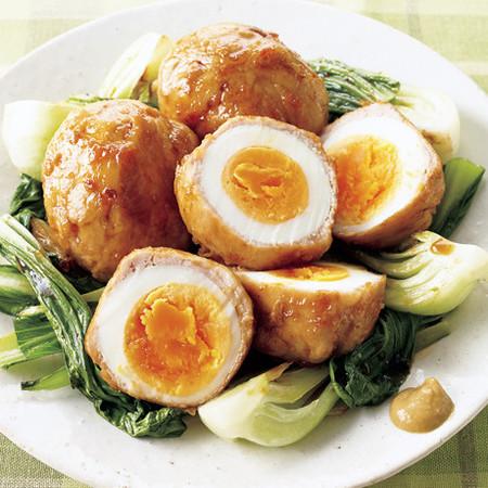 ゆで卵の肉巻き照り焼き