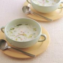 レタスとハムのミルクスープ