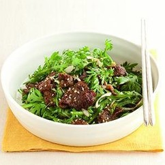 春菊と牛肉のサラダ