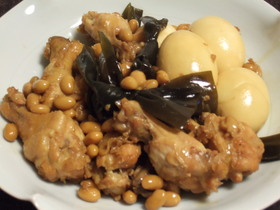 トロトロ~鶏手羽と昆布と大豆の煮物