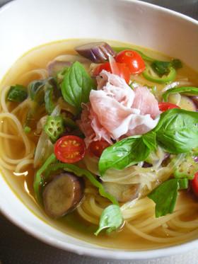 野菜たっぷりのスープスパゲティ♪