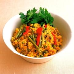 春野菜の発芽玄米パエリア