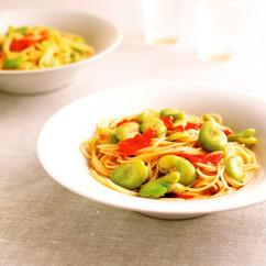 そら豆とフレッシュトマトのスパゲティ