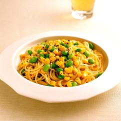 とうもろこしと枝豆の黒こしょうスパゲティ