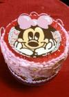 100均デコペンでミニーちゃんケーキ