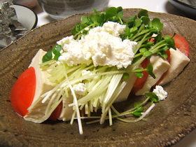 トマトと豆腐のサンドイッチサラダ