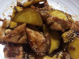 さつまいもと鶏と舞茸の炒め物♩
