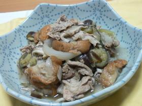 ナスと豚肉のお麩でウマつゆ煮